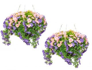 Pair of Large Artificial Petunia Hanging Baskets By Primrose™ (30cm) Purple & Pink
