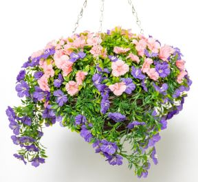 Large Artificial Petunia Hanging Basket By Primrose™ (30cm) Purple & Pink™