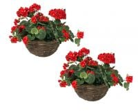 Pair of Large Artificial Geranium Hanging Baskets By Primrose™ (30cm) Red