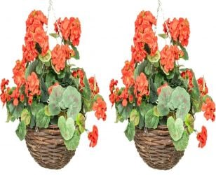 Pair of Large Artificial Geranium Hanging Baskets By Primrose® (30cm) Red
