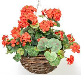 Large Artificial Geranium Hanging Basket By Primrose® (30cm) Red