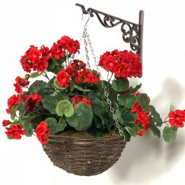 Large Artificial Geranium Hanging Basket By Primrose™ (30cm) Red