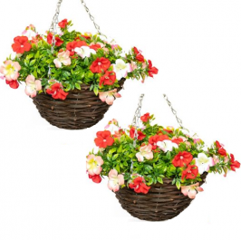 Pair of Medium Artificial Geranium Hanging Baskets By Primrose™ (25cm) Red, Pink & White
