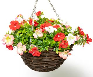 Medium Artificial Geranium Hanging Basket By Primrose™ (25cm) Red, Pink & White