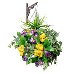Large Pansy Deluxe Artificial Hanging Basket By Primrose™ (35cm)