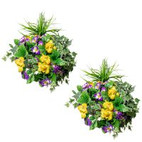 Pair of Large Pansy Deluxe Artificial Hanging Baskets By Primrose™ (35cm)