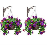 Pair of Medium Artificial Fuchsia Hanging Baskets By Primrose™ (25cm)