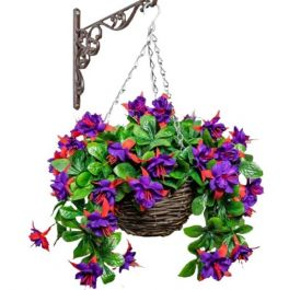 Medium Artificial Fuchsia Hanging Basket By Primrose™ (25cm)
