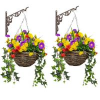 Pair of Medium Artificial Wildflower Hanging Baskets By Primrose™ (25cm)