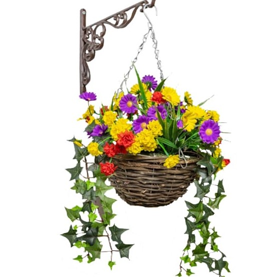Medium Artificial Wildflower Hanging Basket By Primrose™ (25cm)