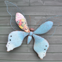 Decorative Metal Blue Butterfly Wall Art