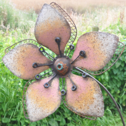Rustic Yellow Flower Garden Stake Ornament