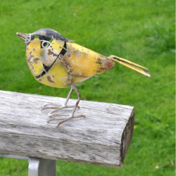 Small Yellowhammer Bird Metal Garden Ornament