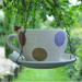 Decorative Hanging Teacup Polkadot Bird Feeder In Grey