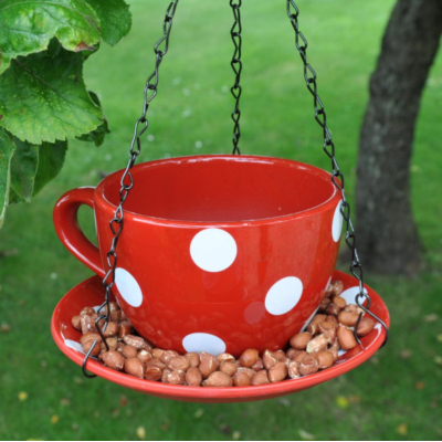 Decorative Hanging Teacup Polkadot Bird Feeder In Red