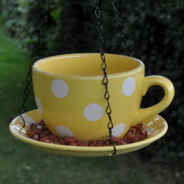 Decorative Hanging Teacup Polkadot Bird Feeder In Yellow