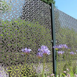 Motif Decorative Screening Fence Panel In Powder Coated Aluminium - 5ft 8 inches