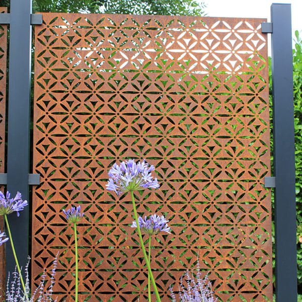 Motif Decorative Fence Panel In Corten Steel 5 8ft 163 582 00