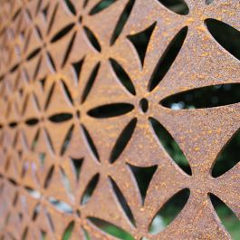 Motif Decorative Screening Fence Panel In Corten Steel - 5ft 8 inches
