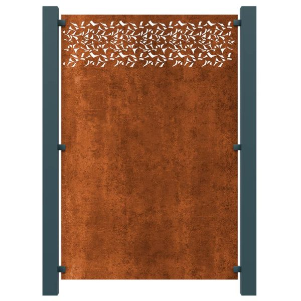Privacy Decorative Screening Fence Panel In Corten Steel - 5ft 8 Inches