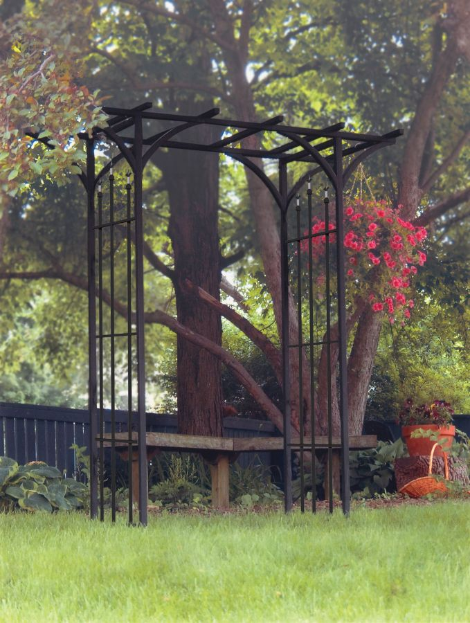 Flat Top Garden Arch with Finials in Black
