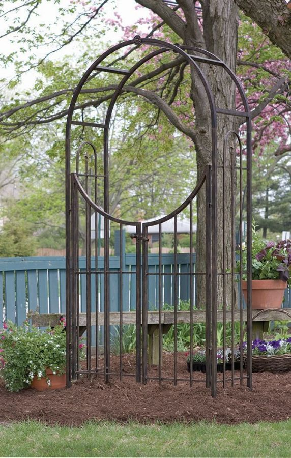 garden arch with gate in brushed bronze. Black Bedroom Furniture Sets. Home Design Ideas