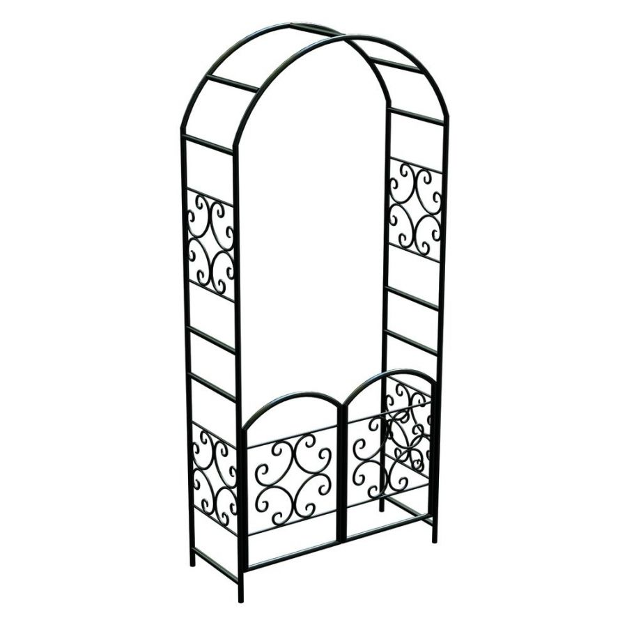Scroll Garden Arch with Gate, Black