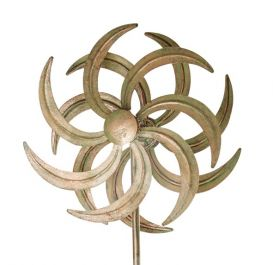 Verdigris Kinetic Wind Spinner Sculpture - Flower