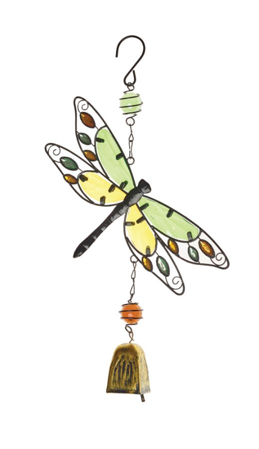 Decorative Dragonfly Wind Chime In Mixed Green
