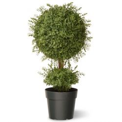 "30"" Artificial Tea Leaf Topiary Mini Ball in Green Growers Pot"