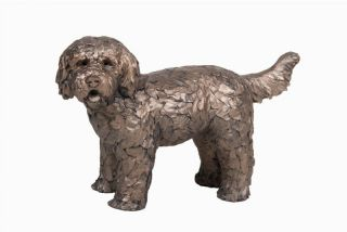 Buttons the Labradoodle Standing Garden Sculpture