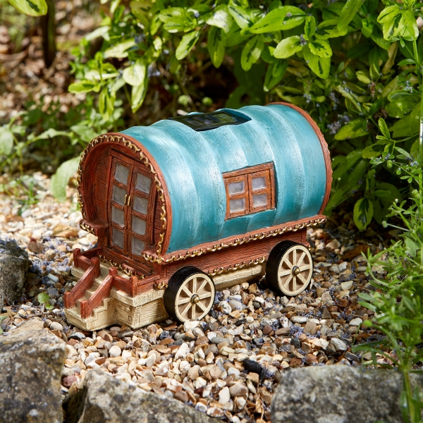 Gypsy Rose Caravan Elveden Collection Garden Sculpture with Solar Lights by Smart Garden