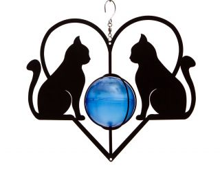 Double Cat Wind Spinner with Solar Light