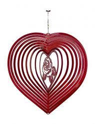 Heart Rose Hanging Wind Spinner
