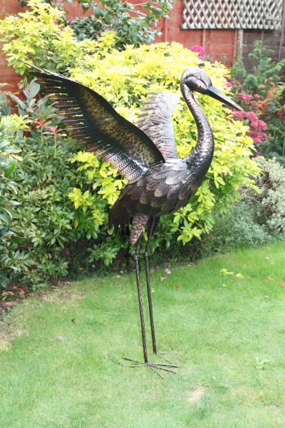 Large Bronze Crane with Wings Up Garden Ornament - 1m