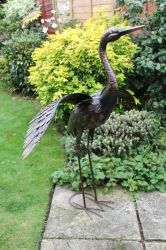 Large Bronze Crane with Wings Down Garden Ornament - 1.1m