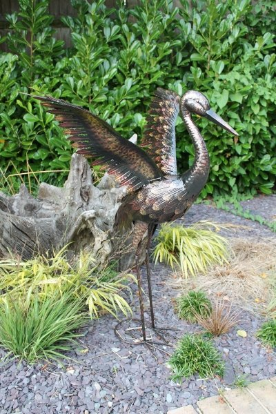 Small Bronze Crane with Wings Up Garden Ornament - 64cm