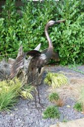 Small Bronze Crane with Wings Down Garden Ornament - 66cm