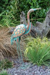 Patina Heron Garden Ornament - 64cm