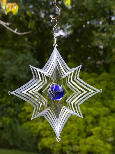 Stainless Steel Star Wind Spinner with LED Blue Marble