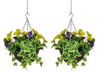 Pair of D25cm Deluxe Small Artificial Hanging Baskets - Purple & Yellow Pansy