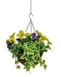 D25cm Deluxe Small Artificial Hanging Basket - Purple & Yellow Pansy