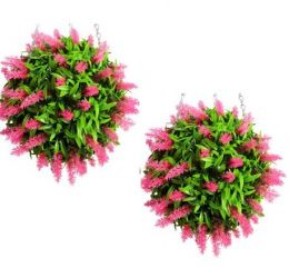 Pair of 38cm Artificial Topiary Flower Balls Pink
