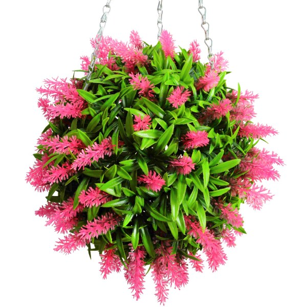 28cm Artificial Topiary Flower Ball Pink