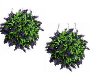 Pair of 28cm Artificial Topiary Flower Balls Purple