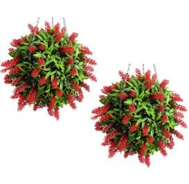 Pair of 38cm Artificial Topiary Flower Balls Red