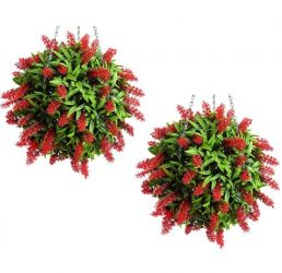 Pair of 28cm Artificial Topiary Flower Balls Red