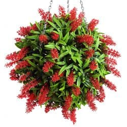 28cm Artificial Topiary Flower Ball Red