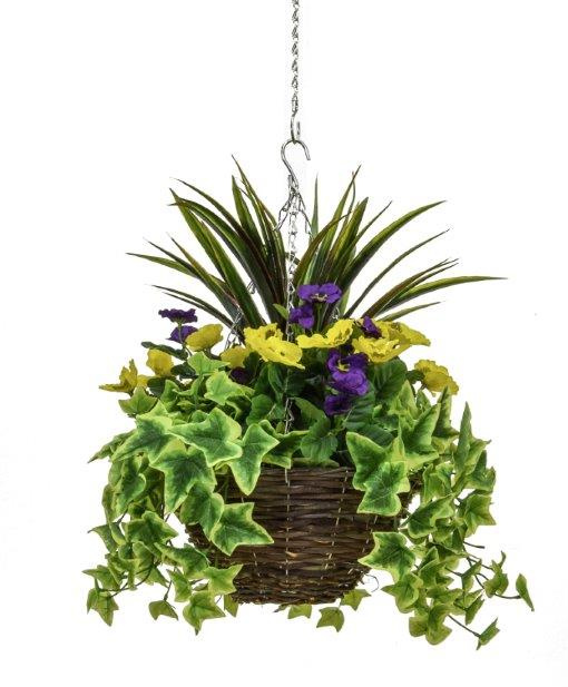 D30cm Deluxe Medium Artificial Hanging Basket - Purple & Yellow Pansy