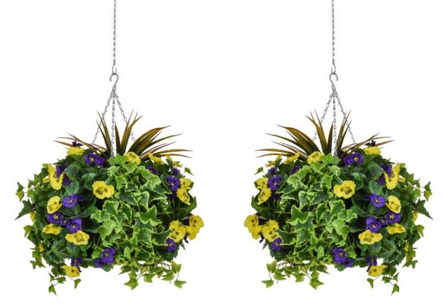 Pair of D40cm Deluxe Large Artificial Hanging Baskets - Purple & Yellow Pansy
